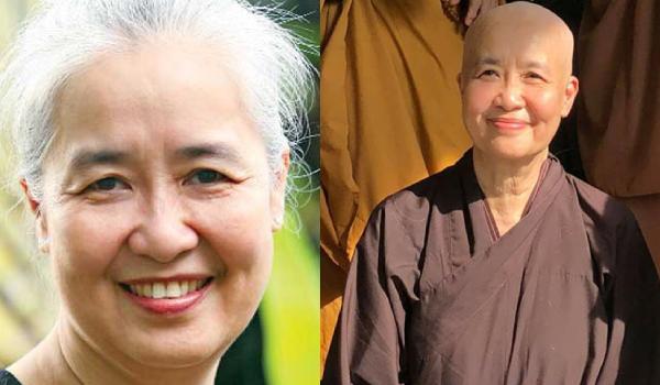 Chuyên gia ẩm thực Nguyễn Dzoãn Cẩm Vân trước và sau khi xuống tóc.