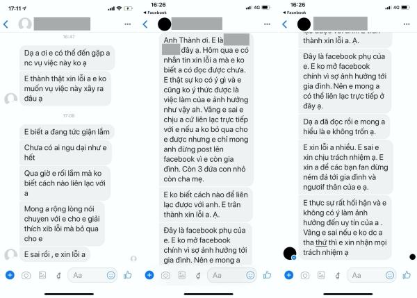 Kèm với bài đăng, Trấn Thành chia sẻ tin nhắn của 3 tài khoản đã làm rộ lên scandal 'bay lắc' ồn ào của anh nhiều ngày qua.