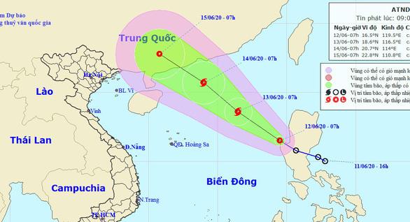 Ví trí và đường đi của áp thấp nhiệt đới