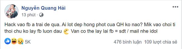 Hacker xâm nhập trái phép vào tài khoản cá nhân có tick xanh của Quang Hải.