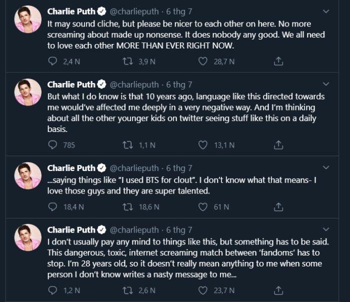 Các dòng tweet của Charlie Puth mới đây.