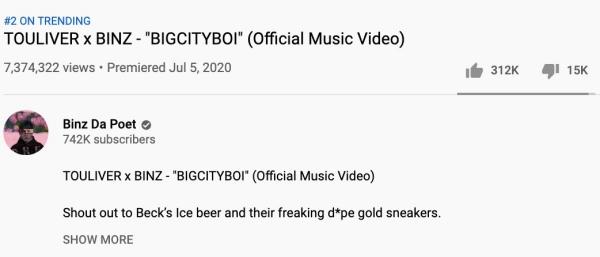 MV Bigcityboi hiện giờ đang no.2 top trending, đạt 7,3 triệu views và 312 ngàn lượt likes.