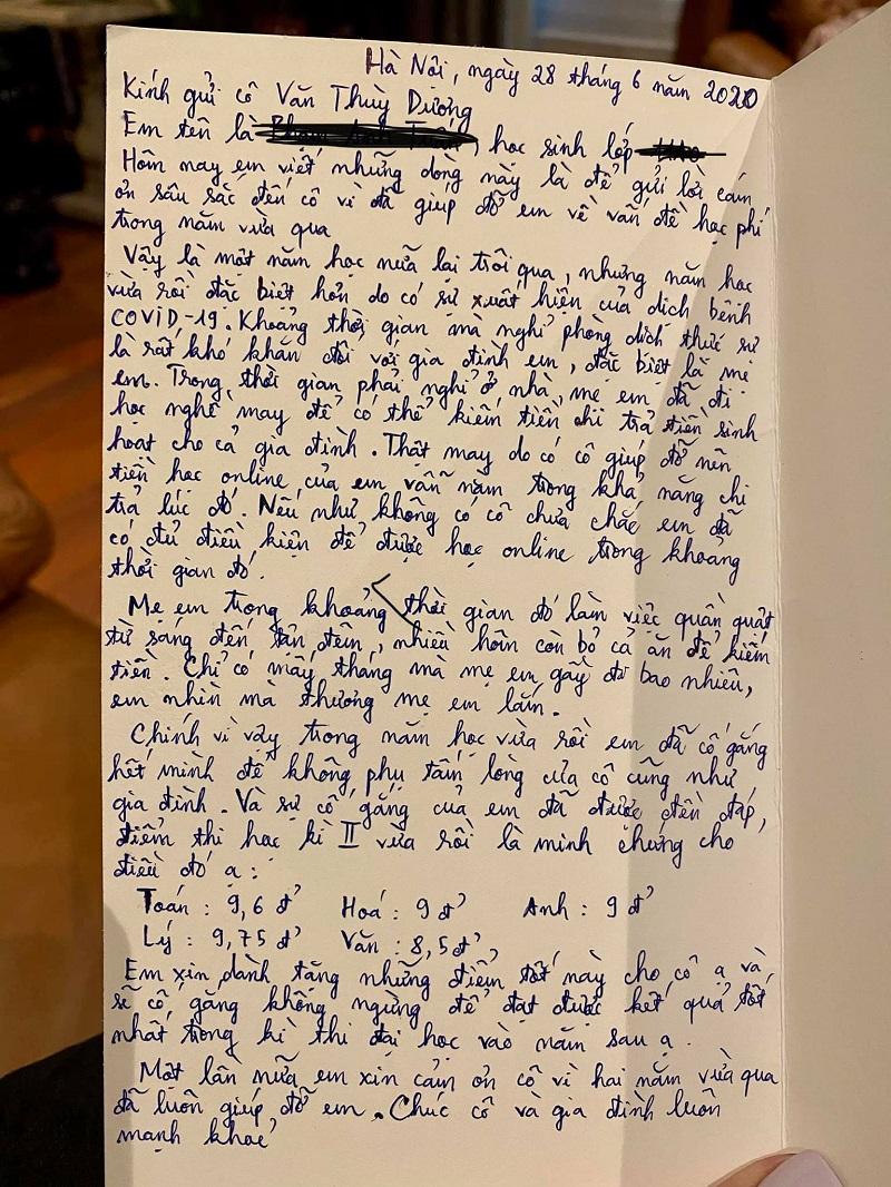 Lá thư xúc động của một bạn học sinh lớp 11 trường THPT Lương Thế Vinh gửi cô Văn Thùy Dương