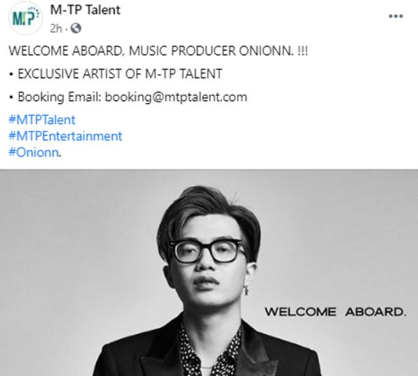 Sau Kay Trần, Onionn chính là nghệ sĩ tiếp theo xác nhận về 'mái nhà chung' M-TP Talent 0