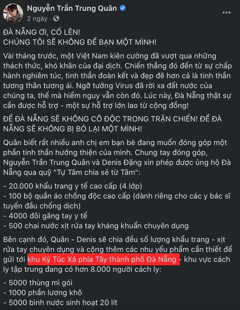 Bài đăng ủng hộ có ghi chú thông tin sai trên Facebook của Nguyễn Trần Trung Quân.