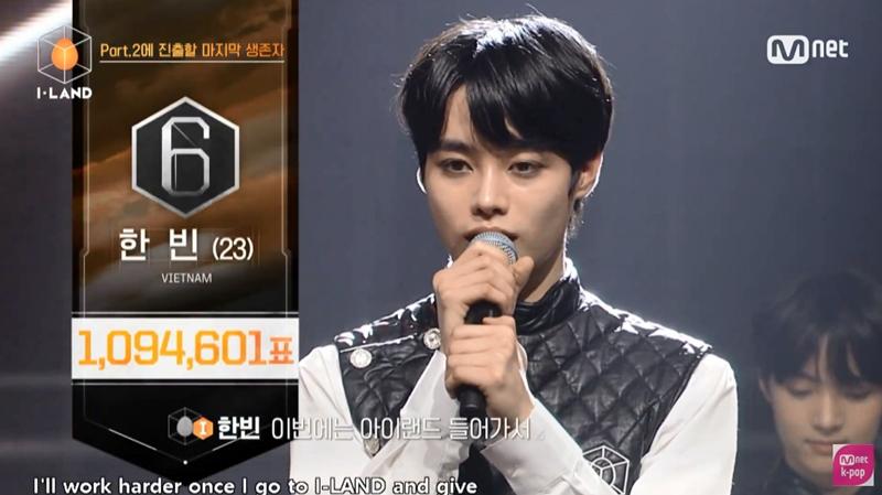 Cuối cùng, đầy bất ngờ và xúc động, Hanbin (Ngô NgọcHưng) đã thành công đi tiếp, giành lấy hạng 6 với 1,094,601 votes Toàn Cầu.