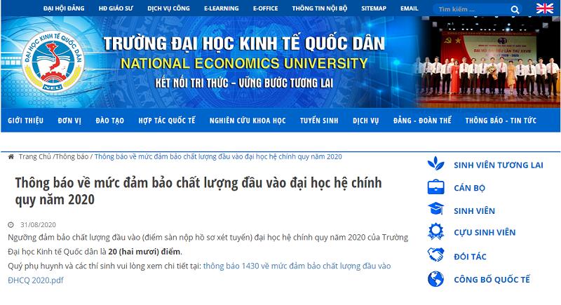Thông báo điểm sàn trên website của Đại học Kinh tế Quốc dân