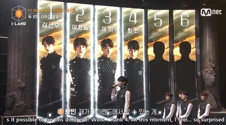 Hanbin xếp hạng 4 trong tập phát sóng mới nhất của I-Land, nhờ điểm vote toàn cầu.
