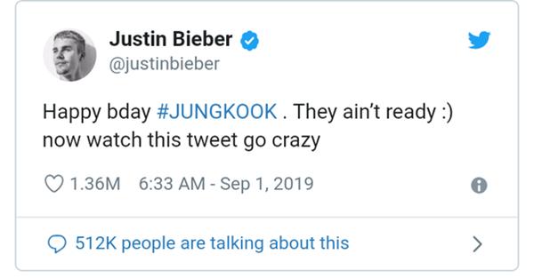 Justin Bieber chúc mừng sinh nhật Jungkook.
