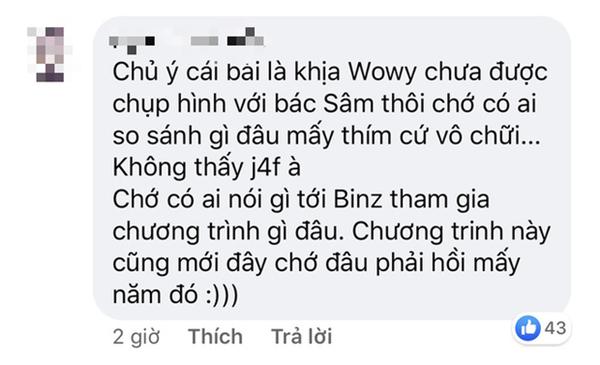 Trong khi Wowy phải cất công bay ra Hà Nội nhưng không gặp thần tượng thì Binz đã được MC Lại Văn Sâm choàng vai rồi này! 7