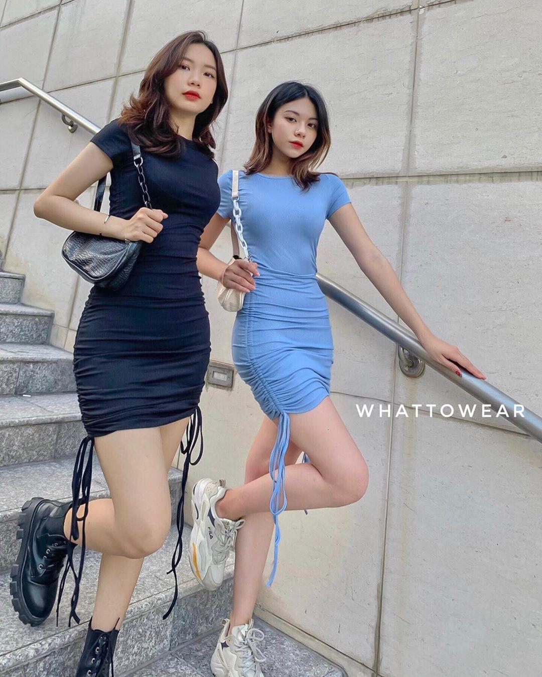 Những chiếc váy body rút dây có độ căng phồng phù hợp với chị em có vòng 3khiêm tốn lại tôn nhẹ vòng eo gợi cảm.