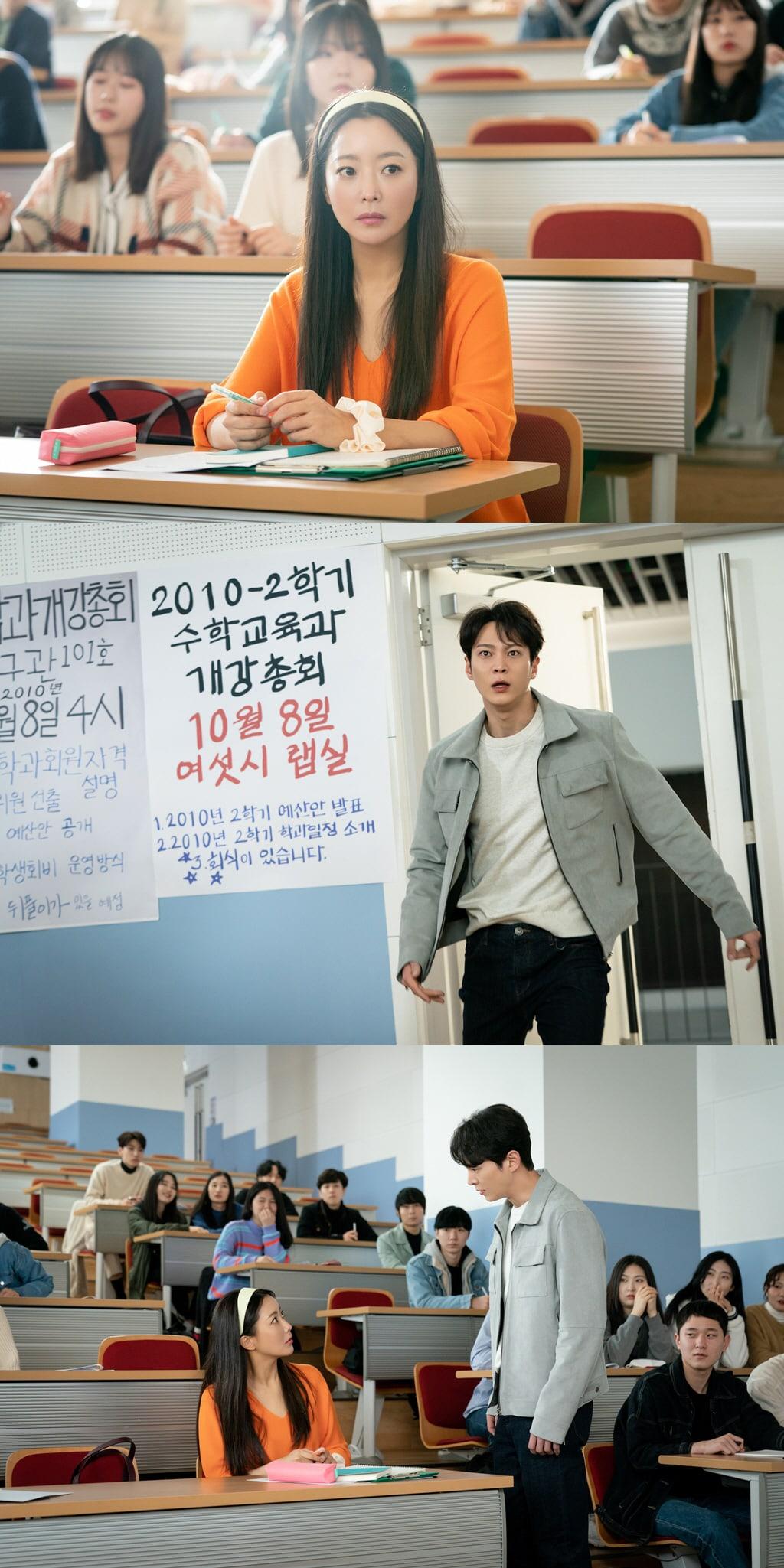 Park Jin Gyeom gặp lại Yoon Tae Yi tại giảng đường đại học sau khi bị 'văng' về quá khứ 10 năm trước