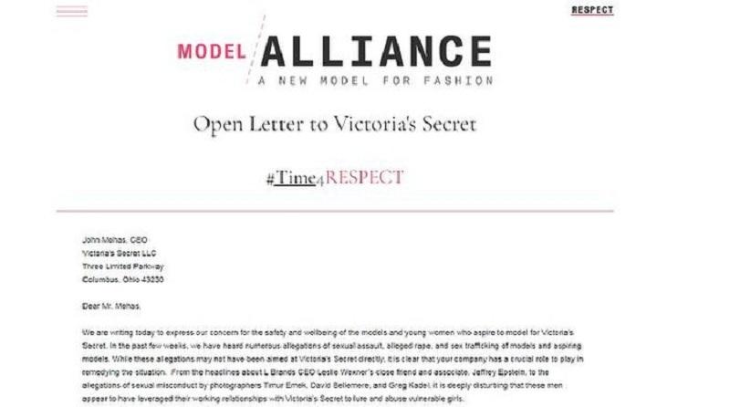 Bên cạnh đó, sau rất nhiều bê bối, tổ chức phi lợi nhuận Model Alliance đã gửi thư buộc Victoria's Secret có trách nhiệm đảm bảo sự an toàn cho người mẫu. Hay hơn 100 người, bao gồm nhiều nhiếp ảnh gia, người mẫu nổi tiếng đã ký vào thư yêu cầu giám đốc John Mehas làm mọi cách kiểm soát và ngăn chặn vấn nạn xâm phạm tình dục.