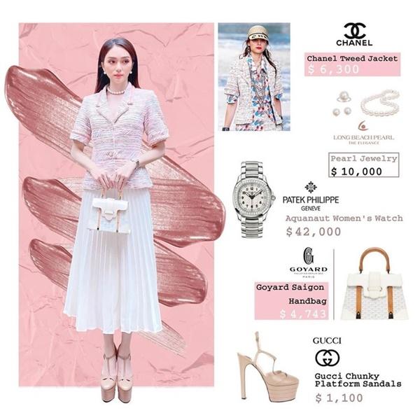 Để có một outfit chuẩn phong cách nàng thơ thế này, Hương Giang đã bỏ ra gần 1,5 tỷ đồng để sở hữu.