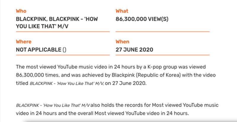 MV của nhóm nhạc K-Pop được xem nhiều nhất trong 24h trên Youtube.