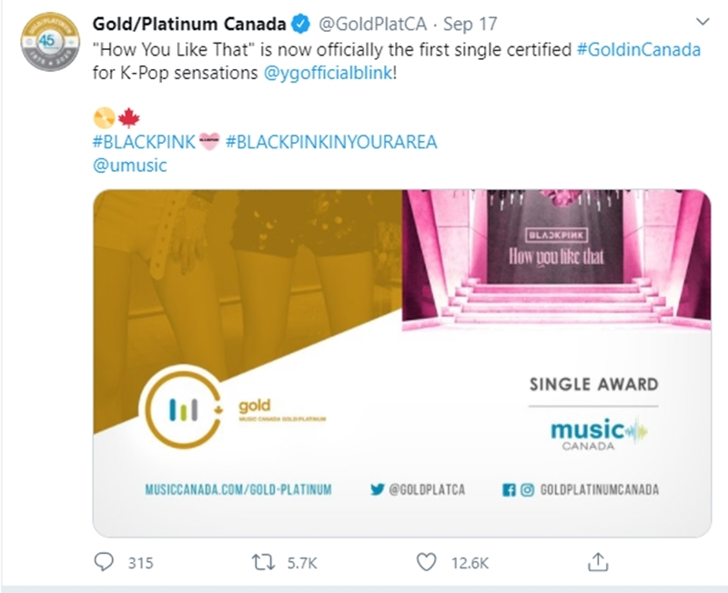 Thông báo được cập nhật trên trang Twitter của Gold/Platinum Canada.