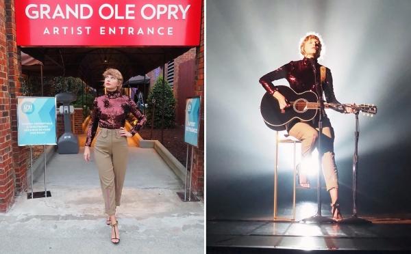 Lần đầu xuất hiện sau hàng tháng trời 'biến mất', Taylor Swift chọn cho mình chiếc áo cao cổ mang sắc đỏ lấp lánh sơ-vin trong quần kaki màu beige. Đây cũng là outfit được cô nàng đem lên sân khấu ACM để biểu diễn bài hátBettytrong album mới.