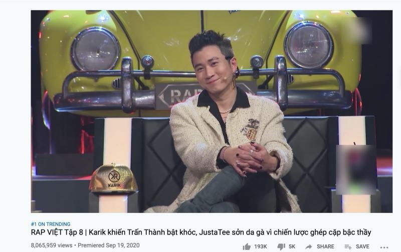 Bỏ qua những tranh cãi trên,Rap Việtđã nhẹ nhàng 'hạ cánh' ngay Top 1 Trending Youtube, chứng minh cho sức hút 'không phải dạng vừa đâu' của team Karik!
