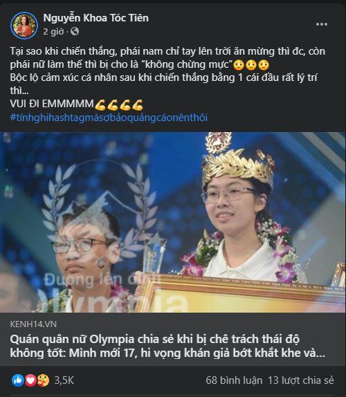 Tóc Tiên lên tiếng bênh vực Quán quân Olympia 2020.