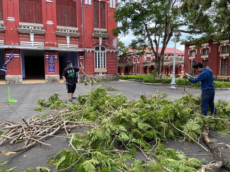 Trường Quốc học Huế bị sập tường rào sau bão 2