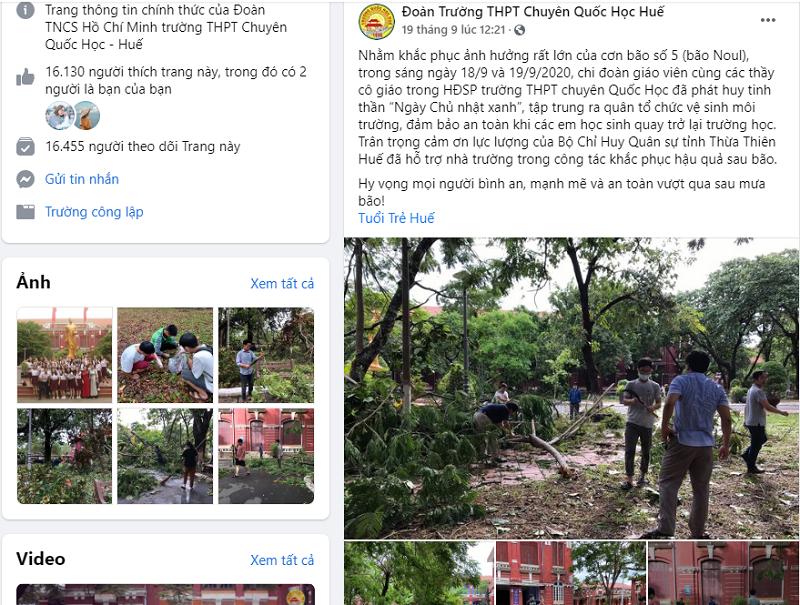 Thầy và trò trườngTHPT chuyên Quốc Học Huế đã tích cực dọn dẹp và khắc phục hậu quả sau bão