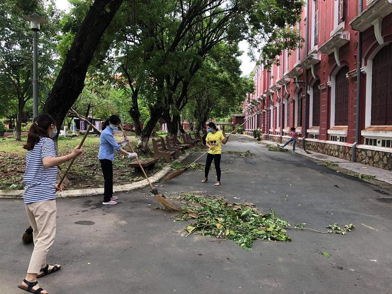 Đoàn trườngTHPT chuyên Quốc Học Huế đã tiến hành dọn dẹp vệ sinh và cắt tỉa bớt những cành cây to rậm rạp có nguy cơ bị đổ