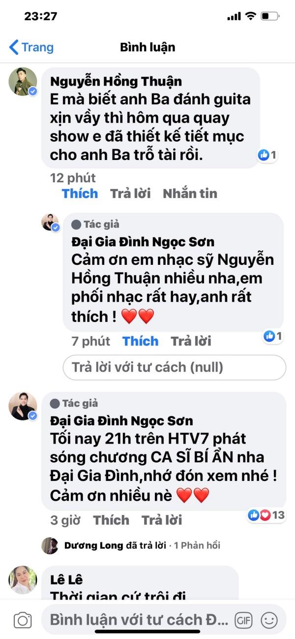 Không chỉ fan mà rất đông các nghệ sĩ cũng để lại những lời khen đến nam danh ca như: Nghệ sĩ Linh Tâm, nhạc sĩ Nguyễn Hồng Thuận, Lâm Khánh Chi, Khang Việt,…