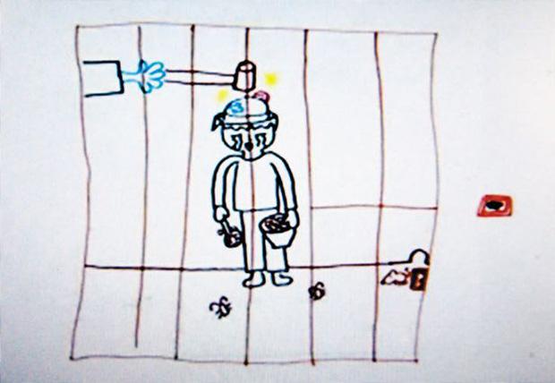 Bức tranh bé Nayoung vẽ vào năm 2009 thể hiện mong muốn kẻ ác phải bị trừng phạt.