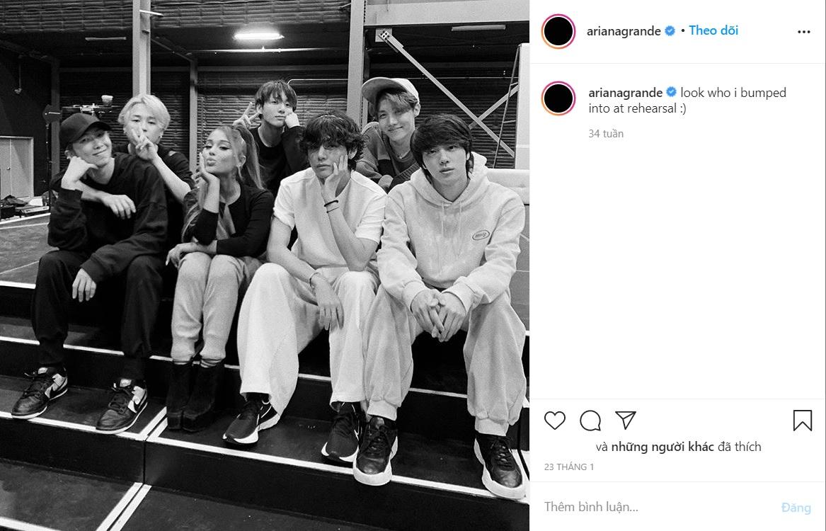 BTS và Ariana gặp nhau khi tập luyện