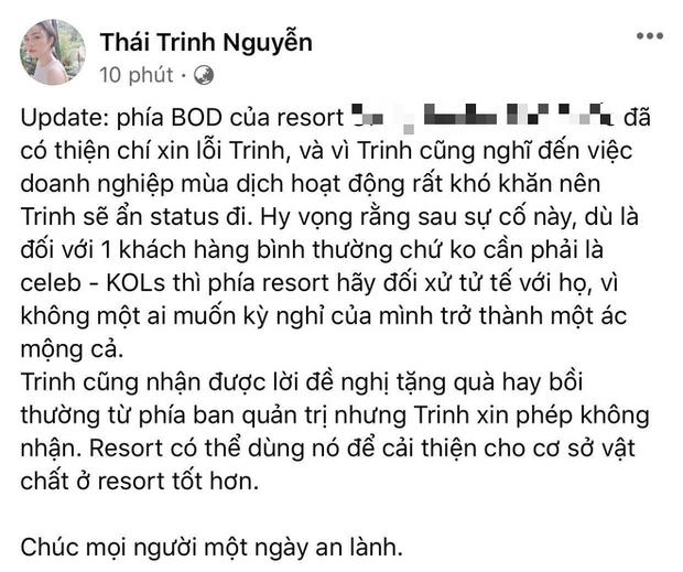 Status cập nhật của Thái Trinh về cách xử lý sự cố của phía khách sạn.