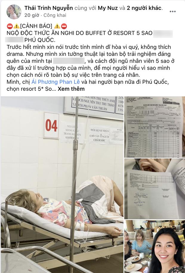 Trước đó Thái Trinh đã chia sẻ về việc cô, Phan Lê Ái Phương cùng 2 người bạn khác bị ngộ độc sau khi dùng bữa tại một resort 5 sao.
