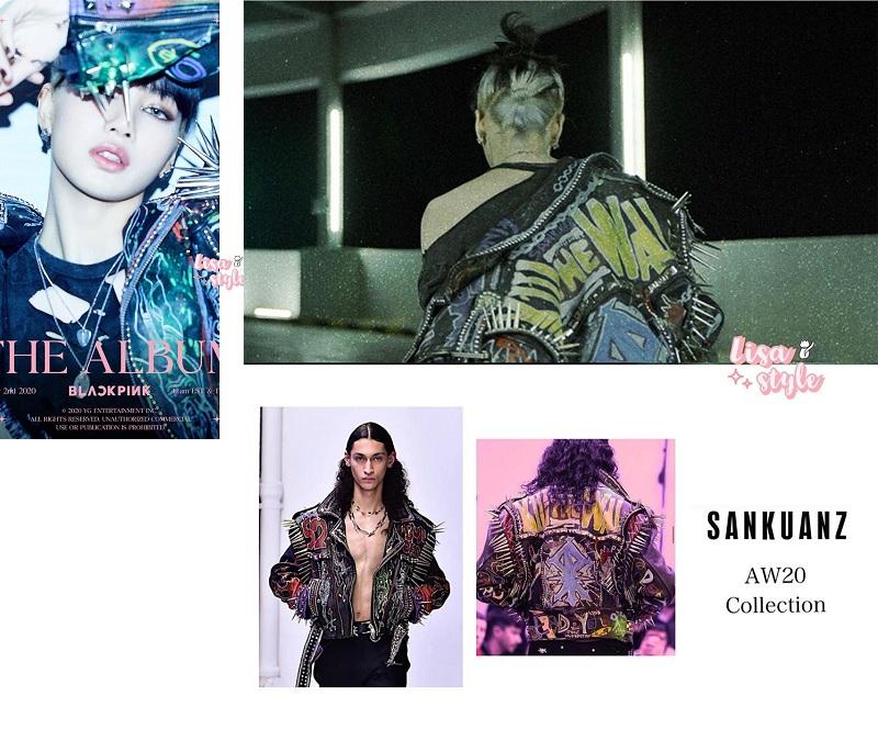 Bộ trang phục của Lisa cũng gây ấn tượng mạnh mẽ. Mỹ nhân 9X đã 'biến hình'siêu ngầu trong chiếc áo dành cho dân Rock thứ thiệt thuộc bộ sưu tập Thu Đông 2020 của hãng Sankuanz được anh chàng người mẫu mặc theo đúng cách của 'dân chơi' điển hình.