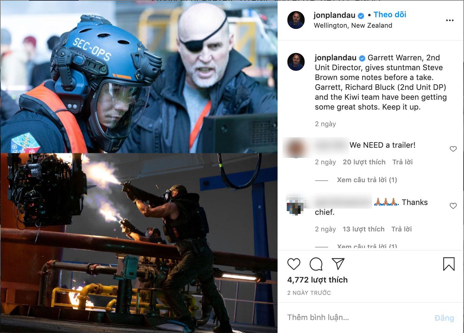 Những hình ảnh mới nhất từ hậu trường 'Avatar 2' đã được hé lộ, là cảnh quay trong trận chiến của con người trên hành tinh Pandora.