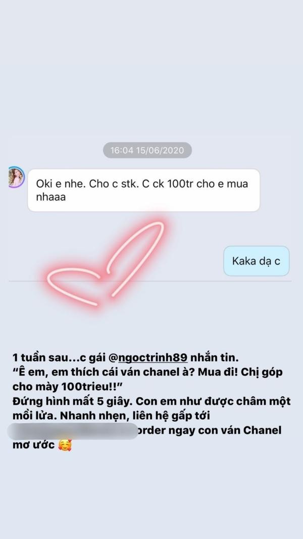 Chi Pu còn đăng tin nhắn với Ngọc Trinh lên story trên instagram để chứng minh cho hành động hào phóng của 'nữ hoàng nội y'