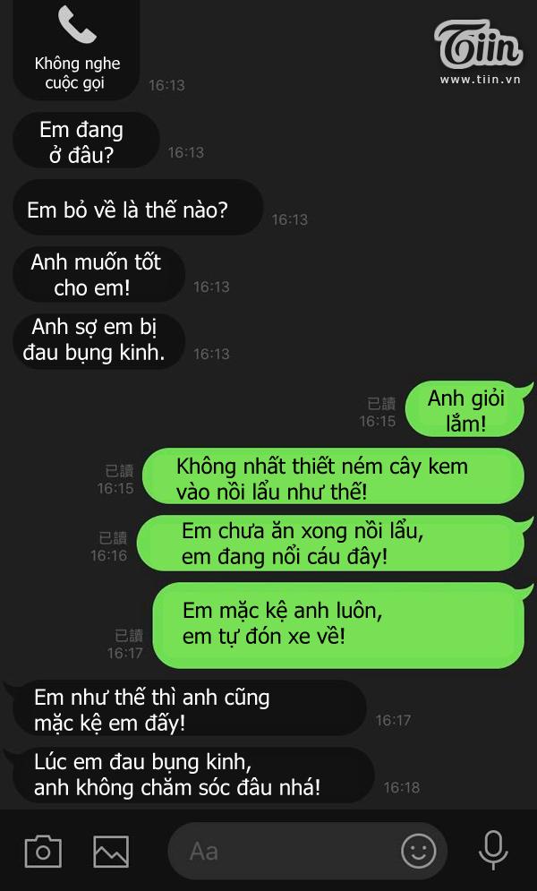 Tin nhắn của cặp đôi sau màn ném cây kem vào nồi lẩu.
