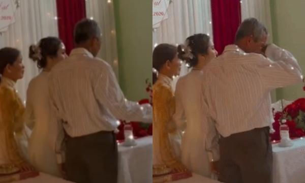 Người bố giàlén lau nước mắt, không dám chụp ảnh trong giây phút tiễn con gái đi lấy chồng gây xúc động 0