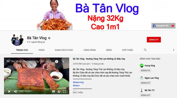 Bà Tân Vlog đạt 4 triệu người đăng ký.