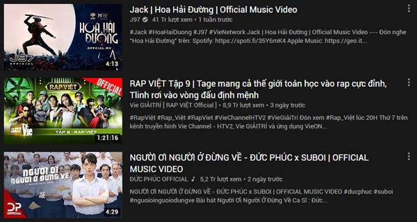 Cục diện Top Trending: Jack vẫn giữ vị trí No.1 sau 1 tuần, Mỹ Tâm vừa ra MV đã 'lăm le' vượt Đức Phúc, 'Rap Việt' 0