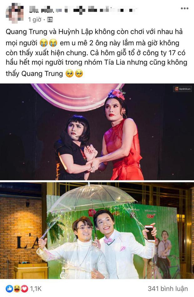 Nghi vấn Quang Trung, Huỳnh Lập nghỉ chơi rộ lên trong một group kín về showbiz.