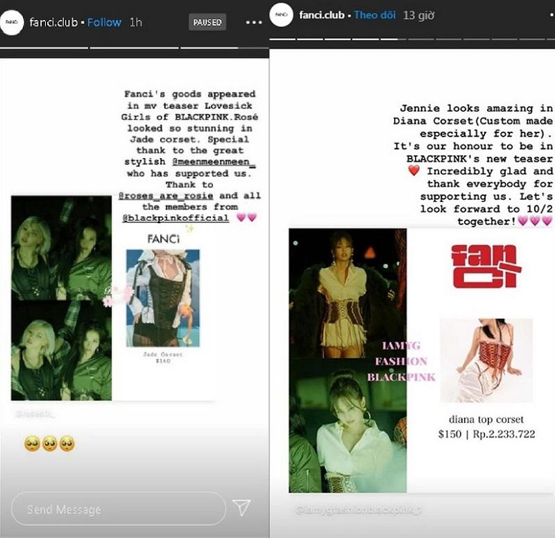 Tài khoản Instagram của hãng Fancì cũng đã đăng tải hình ảnh hai cô nàng Rosé và Jennie diện thiết kế sáng tạo của mình cùng lời cảm ơn tới stylist Black Pink đã tin tưởngchọn lựa hãng.