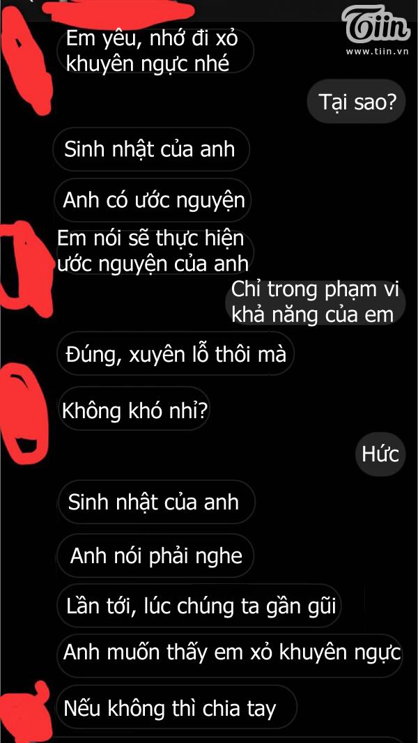 Tin nhắn chàng trai nhắc khéo bạn gái đi xỏ khuyên ngực.
