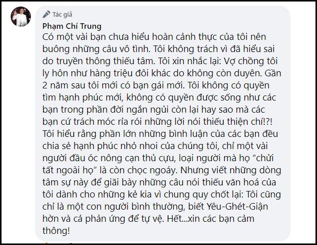 NSƯT Chí Trung để lại bình luận dài khi cư dân mạng rỉa rói chuyện tình của mình và bạn gái