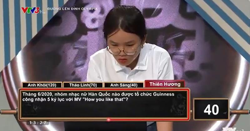 Thiên Hương nhanh chóng ghi điểm nhờ câu trả lời chính xác về nhóm nhạcBLACKPINK.