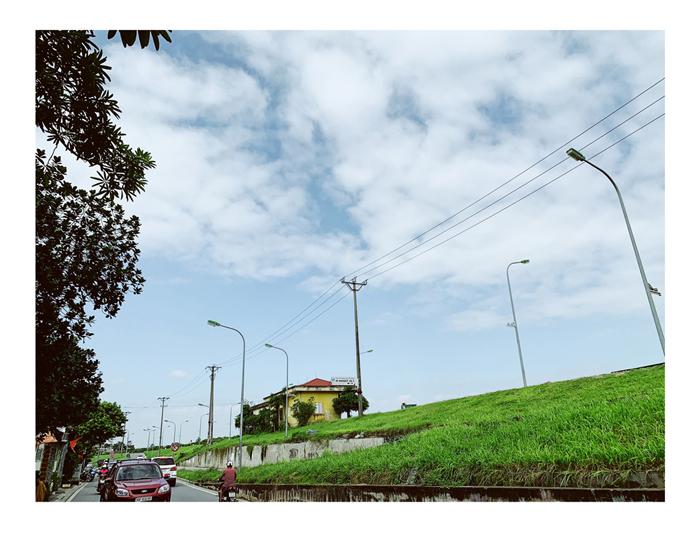 Thành phố bên kia cầu với triền đê xanh rì cỏ lau