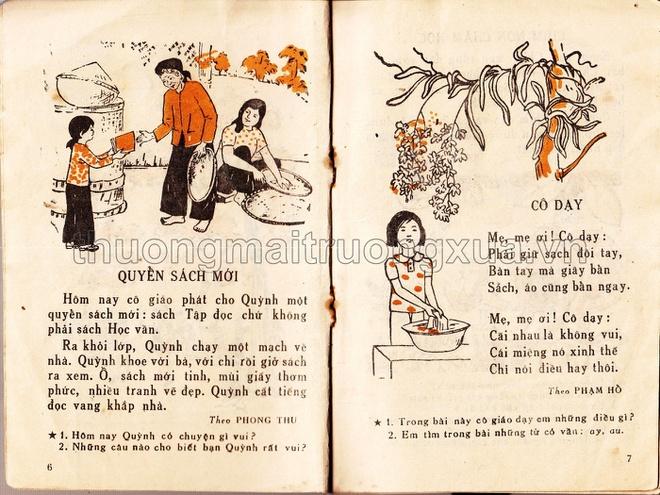 Những bài học đầu tiên trong sách Tập đọc lớp 1 năm 1985