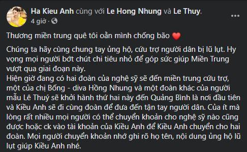 Trên trang cá nhân, hoa hậu Hà Kiều Anh cho biết đoàn cứu trợ của ca sĩ Hồng Nhung và người mẫu Lê Thúy sẽ khởi hành đến Quảng Bình sớm nhất để trao tận tay bà con