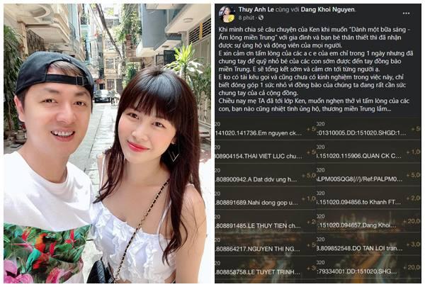 Bà xã Đăng Khôi cũng tích cực kêu gọi tài trợ để ủng hộđồng bào miền Trung.