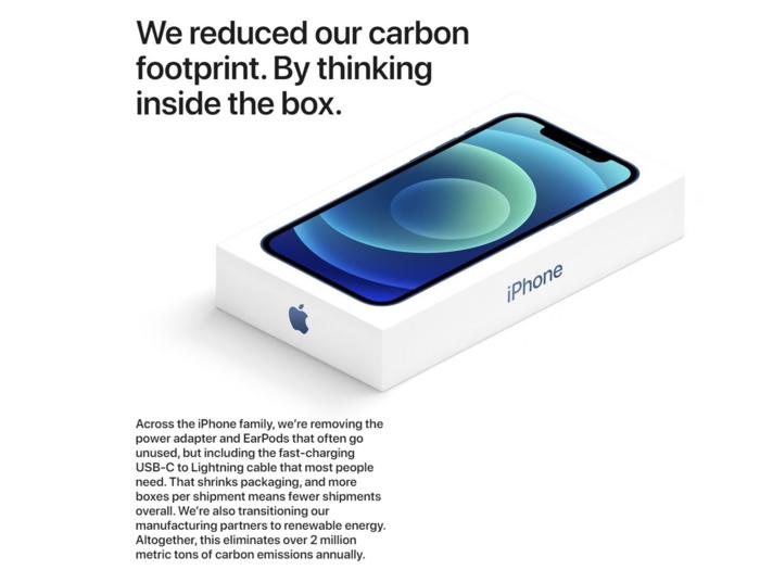 Apple đưa ra lí do vì môi trường cho quyết định không bán iPhone 12 kèm cục sạc và tai nghe. Ảnh: Apple.