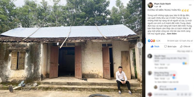 Cầu thủ Xuân Mạnh kêu gọi quyên góp ủng hộ đồng bào miền Trung bị ảnh hưởng bởi mưa lũ.