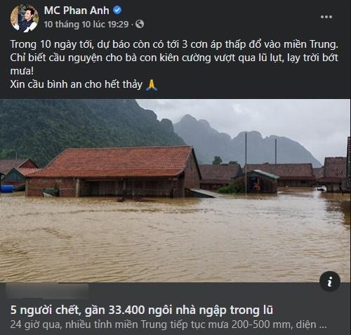 Động thái gần đây nhất trên trang cá nhân Phan Anh là cầu bình an cho người dân miền Trung.